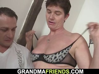 3some with hairy pussy old granny in white-hot underwear