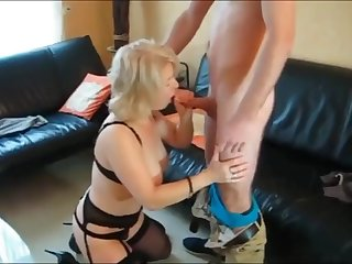 nerd with very big cock having fun with his mature neighbor