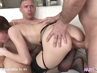 petite cat eyed girl having some dp fun