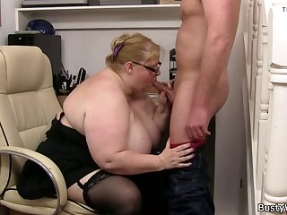 big-belly fatty sucks and rides his cock