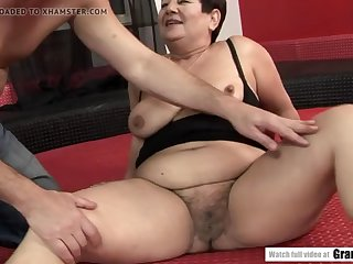 old bbw granny enjoying the brush younger plaything