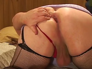 Drilling his ass prevalent toys wearing female nylon stockings